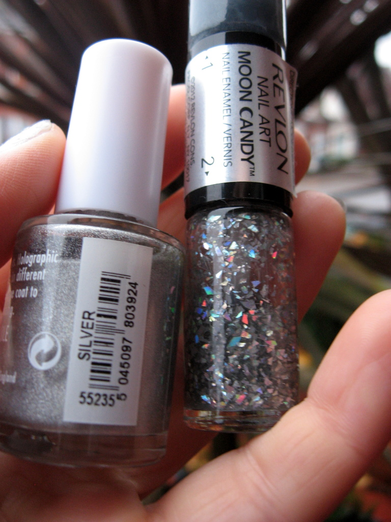 17 Holo Silver with Revlon Moon Candy 'Milky Way' nail polishes